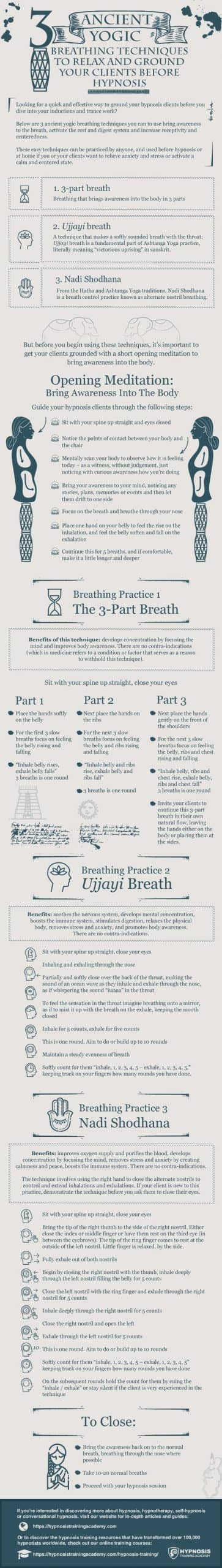 [INFOGRAPHIC] Yogic Breathing For Hypnosis: 3 Easy Techniques To Ground & Relax Your Clients Before Inducing A Hypnotic Trance